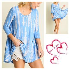 Blue Tunic Large Blue Print Away with Me Tie Dye Tunic