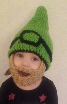 Made this for my friend's child. The hat pattern is free on Raverly and the beard I just crocheted 25 across and made alternating sc and dc
