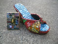 mosaic shoe and mini mosaic art