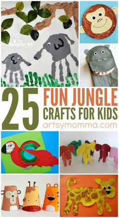 25 Fun Jungle Crafts for Kids! Monkeys, hippos, lions oh my! So many fabulous animal crafts for your jungle unit!