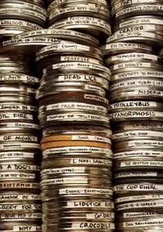 The treatment behind the type blocks is influenced by how film reels are stored with writing names on tape and sticking them on the canisters. Amc Shows, Friends Moments, Film Reels, Sundance Film Festival, Comedy Films, Indie Movies, Film Books, Character Aesthetic, Aesthetic Vintage