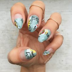 I was so inspired by @rosebnails' incredible @basquiatart set and then one of my students randomly asked me if I'd ever done @basquiatart inspired nails so I stepped out of my comfort zone and gave it a shot! There's no way I could replicate his genius or @rosebnails' talent- this is just a nod of appreciation for @basquiatart and @rosebnails!