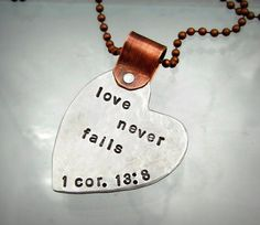 Heart Necklace - Mixed Metal Hand Stamped Jewelry - Scripture - Love Never Fails - Personalized Necklace - Scripture Necklace (104) on Etsy, $29.00