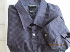 Paul Smith casual blue shirt with orange dots, button front #PaulSmith #ButtonFront