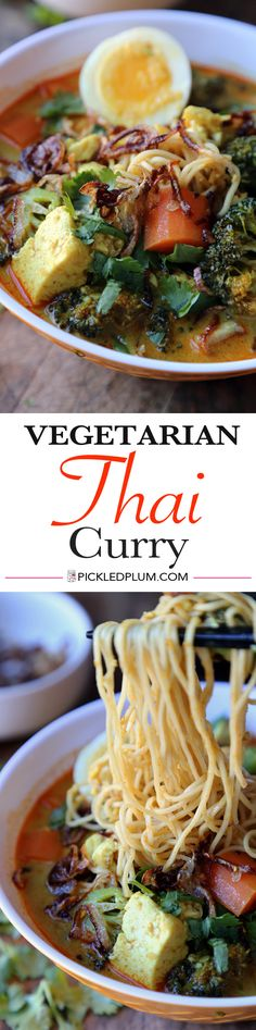 Vegetarian Thai Curry - Classic Vegetable Curry Noodles served in a red curry coconut milk soup. Ready in 20 minutes. Recipe, healthy, Thai, noodles, soup, easy | pickledplum.com