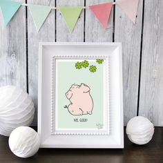 GREENGATE jetzt bestellen bei HIHOLA HOUSE&GARDEN - Katz und Tinte Postkarte Viel Glück Glückschweinchen