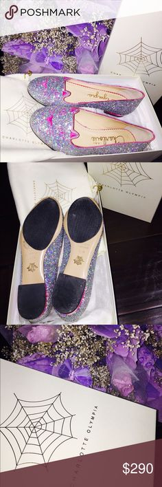 Charlotte Olympia kitty flats Size: FR38/IT37/US7 fits true to size. Leather sole. 100% calf leather. Made in Italy. 99% new. Only worn once. Comes with original box and dust bags. The black patches are leather sole protectors, they are removable but it is best to have them on. NO TRADE. PRICE FIRM. Charlotte Olympia Shoes Flats & Loafers