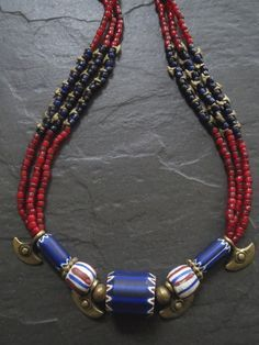 Triple Strand Naga Beads and Chevron Trade Beads Necklace