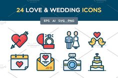 Love and Wedding icon set by Mir store on @Graphicsauthor