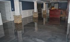 Modern Basement Floor Epoxy Idea Paint Metallic Jeffsbakery How To And Sealer Kit Cost Lowe V Stain Color