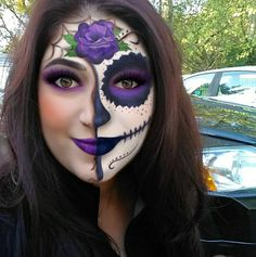 All Hallows Eve - or Day of the Dead makeup. Amazing Halloween Makeup, Halloween Looks, Happy Halloween, Sugar Skull Makeup, Sugar Skulls, Day Of Dead Makeup, Fantasy Make Up, Face Paint Makeup, Zombie Walk