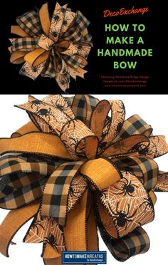 This quick tutorial will show you how to make a handmade bow for wreaths. Includ… This quick tutorial will show you how to make a handmade bow for wreaths. Included is a step by step video on how to make a handmade wreath bow. Diy Bow, Diy Ribbon, Diy Crafts Ribbon, Ribbon Bows, Ribbons, Wreath Crafts, Diy Wreath, Bow For Wreath, Summer Wreath