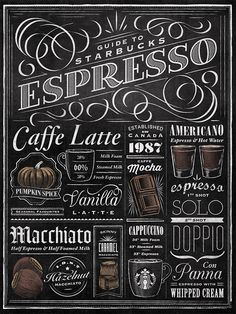 Starbucks Espresso Guide Typographic Mural on Typography Served Chalkboard Typography, Blackboard Art, Chalk Lettering, Chalkboard Designs, Lettering Design, Typography Quotes, Typography Inspiration, Coffee Chalkboard, Lettering Guide