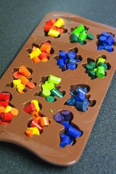 Dinosaur crayons, Place broken crayons in muffin pan bake at 350 degrees for about 10- 15 minutes, pull let cool and flip pan to remove.