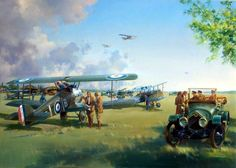 April Morning, France, by Frank Wootton (Sopwith Camel & SE5a, 1918)