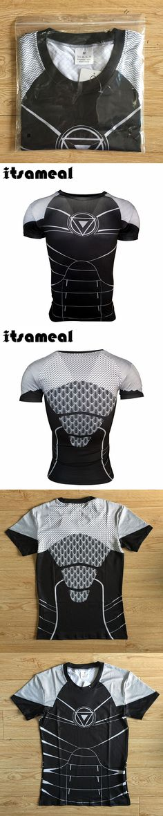 Itsameal New Mens Compression Shirts Anime Superhero Iron Man Superman Fitness BodyBuilding Clothing Crossfit Tops for Male