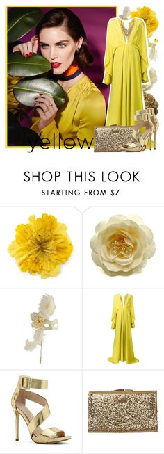 """Sexy Gown"" by biebergirl1013 ❤ liked on Polyvore featuring Gucci, Pier 1 Imports, Christian Siriano, ALDO, Element, yellow and dresses"
