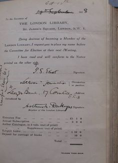 TS Eliot's application to join The London Library