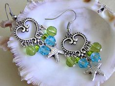 Sea Green and Aqua Blue Chandelier Earrings with by CJFuccyDesigns, $15.00