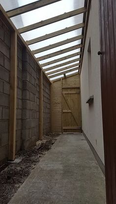 Side Passageway Roof l Side Entrance Cover l Polycarbonate Roof Patio Pergola, Backyard Patio Designs, Backyard Projects, Lean To Roof, Lean To Shed, Outdoor Buildings, Garden Buildings, Exterior Stairs, Cafe Exterior