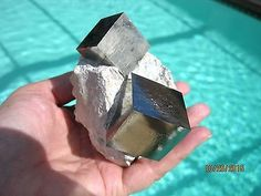 Three Big PERFECTLY Symmetrical AAA PYRITE Crystal Cubes in Matrix! Spain!