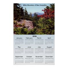 White Mountains New Hampshire 2018 Calendar Poster - decor gifts diy home & living cyo giftidea