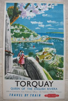 Original Railway Poster Torquay - Queen of The English Riviera, by Xenia. Available on originalrailwayposters.co.uk