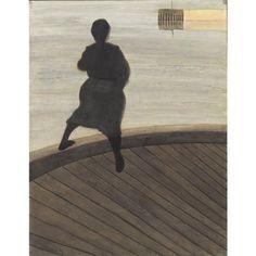 Léon Spilliaert, Femme de Pêcheur sur un Ponton, 1909, encre de chine et crayons de couleur sur papier,