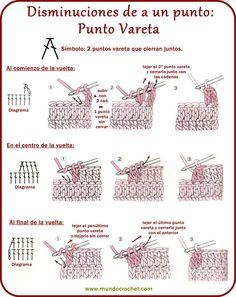 Disminuciones en crochet - Decreasing crochet - ✿⊱╮Teresa Restegui http://www.pinterest.com/teretegui/✿⊱╮