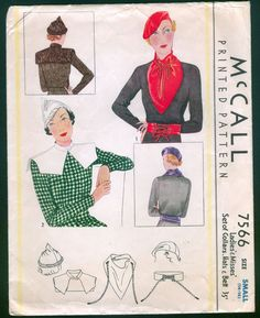 1933 McCall 7566 Ladies' Hat Collars Belt 20+4 sld 11/16/14 Size Small14 -16.Env distressed MISSING HAT #1.HAT #2 COMPLETE