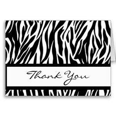 This black and white zebra print thank you card is a sweet choice for your wedding thank you needs.