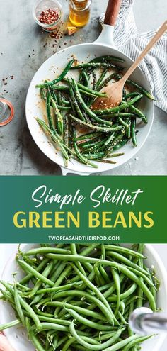A St. Patrick's Day menu idea you can make in 15 minutes! Simple Skillet Green Beans with lemon and garlic is a family favorite side dish even the kids will love. An easy St. Patrick's Day recipe that can be served with any meal! Save this and try it!