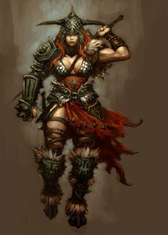 View an image titled 'Barbarian Female Art' in our Diablo III art gallery featuring official character designs, concept art, and promo pictures. Fantasy Warrior, Warrior Girl, Fantasy Rpg, Fantasy Artwork, Dark Fantasy, Warrior Women, Warrior Princess, Medieval Fantasy, Elfa