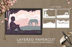 Art Template, Templates, Kirigami, Shadow Box, Paper Cutting, Design Bundles, Layers, Cricut Ideas, Nature