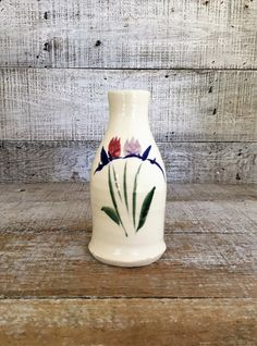 Vase Vintage Pottery Vase Small Ceramic Flower Vase Mid Century Vase Handmade Ceramic Vase Bud Vase Wheel Thrown Vase Cottage Chic by TheDustyOldShack on Etsy