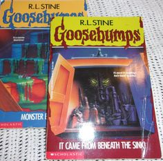GOOSEBUMPS LOT OF 2 PAPERBACK BOOKS By R.L. Stein Monster Blood Beneath the Sink