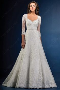 Fitted A Line Cap Sleeve Illusion Back Vintage Lace Wedding Dress ...
