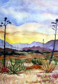 ORIGINAL Watercolor Desert Landscape Painting 16x20 by CalArtist