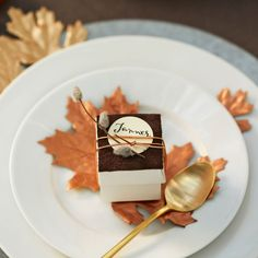 Tie leather with metallic cord to create these easy DIY Fall Embellished Treat Boxes for your guests