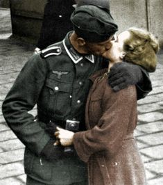 A picture of a German couple, I'm assuming, sometime around or during World War II. Liebe means love in German. Black and white photo colored by me. German Soldiers Ww2, German Army, History Memes, World History, Germany Ww2, Military Couples, Vintage Couples, My Marine, War Photography