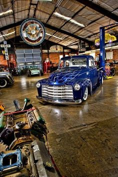 Garage - love the stained concrete and brick! - Who wouldn't love a garage… Man Cave Garage, Garage House, Garage Shop, Dream Garage, Car Garage, Garage Art, Rat Rods, Cool Trucks, Cool Cars