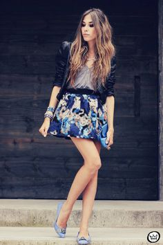Watercolor skirt + leather