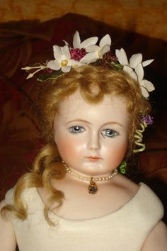 "A 13"" French Fashion BARROIS, leather body, mohair wig and vintage flower headdress, painted eyes by Margaret-Anne"