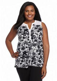 8f6b7c91d831 Kim Rogers Plus Size Sleeveless Floral Print Blouse Sleeveless Blouse, Plus  Size Outfits, Floral