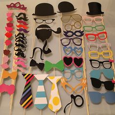 Wedding Hat Moustache Masks Party Decorations Photo Booth Props On A Stick