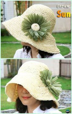 Crochet Women Straw Sun Hat Free Pattern - Crochet Adult Sun Hat Free Patterns