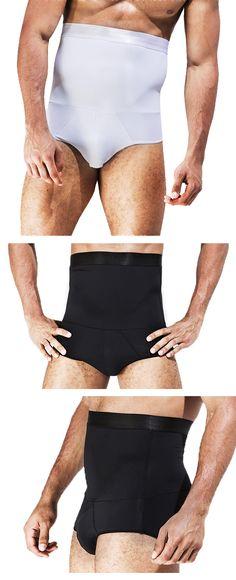 US$13.33 Sexy Nylon High Waist Tummy Tuck Solid Color Briefs Underwear for Men