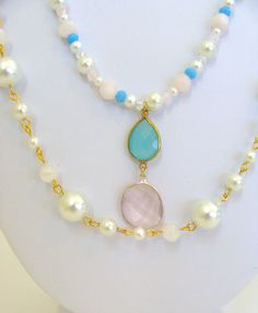 Multi Strand Pearl Necklace with Amazonite and Pink Chalcedony Pendant | Lili by Design Jewelry $62.00  #fashion #women #style #necklace #bride #wedding #pearls #inspired