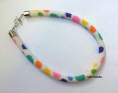 Bead Crochet Necklace Beaded Necklace Blue White Orange