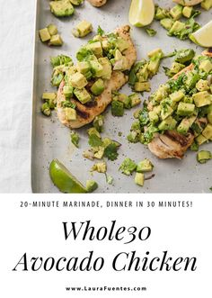This Cilantro Lime Chicken Recipe topped with Avocado Salsa is the perfect midweek sheet pan chicken to make in just 30 minutes! #sponsored #whole30chicken